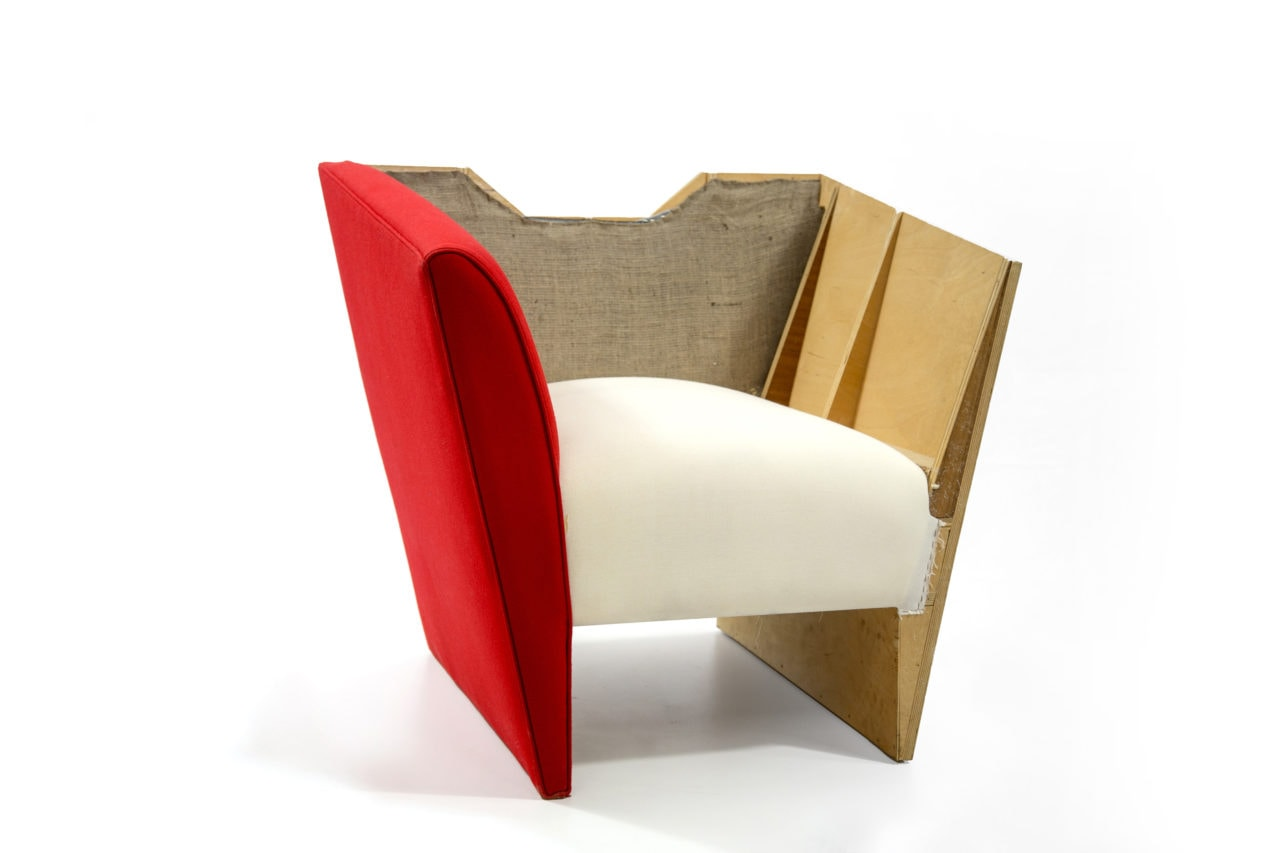dissected layers of SENTIENT contemporary designed nersi custom armchair showing luxury fabric and wood with foam