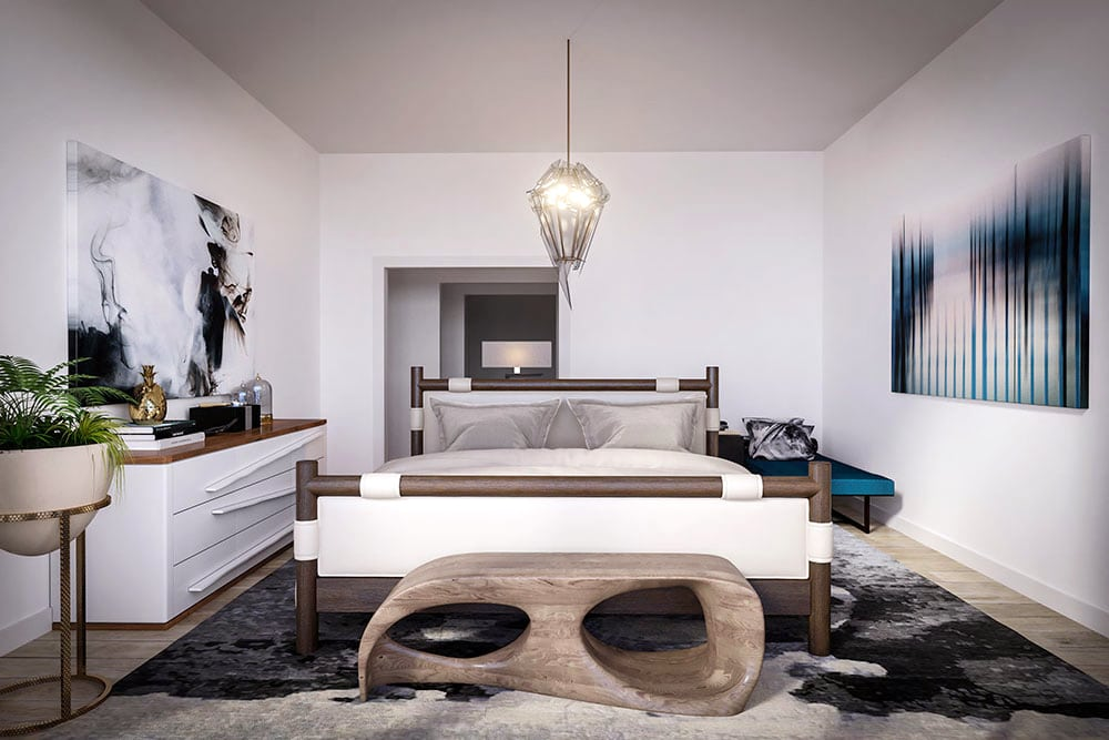 a SENTIENT contemporary designed niagara dresser in a luxury designed bedroom with natural wood and white tones
