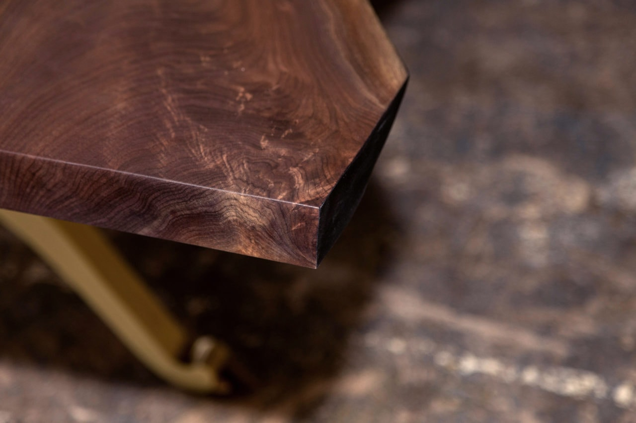 a custom SENTIENT contemporary designed walnut live edge custom table corner detail